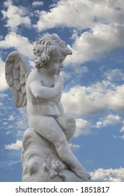 Gorgeous angel statue with beautiful sky