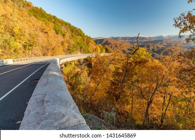 Gorgeous autumn day along the Foothills Parkway in Wears Valley in the Great Smoky Mountain National Park.
