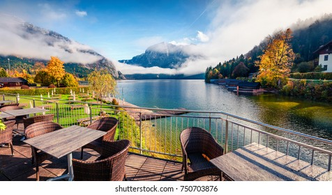 Gorgeous autumn scene of Altausseer See lake. Great morning from cozy resting place in Altaussee village, district of Liezen in Styria, Austria. Beauty of countryside concept background.