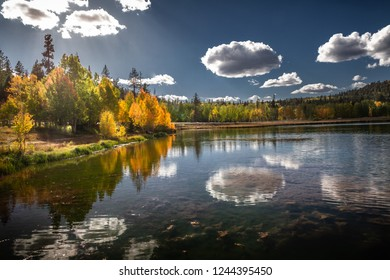 Gorgeous autumn view of the mirror lake of Duck Creek in Dixie National Forest near Cedar Breaks National Monument in Sothern Utah, USA.