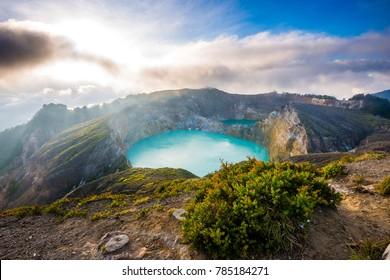 Gorgeous Beautiful Morning View of Kelimutu Crater Lake, Moni, Flores, Indonesia