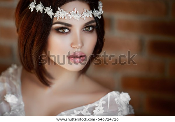 Gorgeous Beauty Bride Wedding Makeup Hairstyle Stock Photo