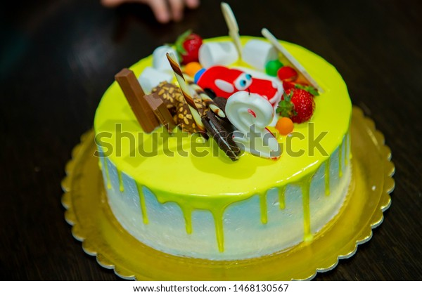 Awesome Gorgeous Birthday Cake Children Colorful Candy Stock Photo Edit Funny Birthday Cards Online Unhofree Goldxyz