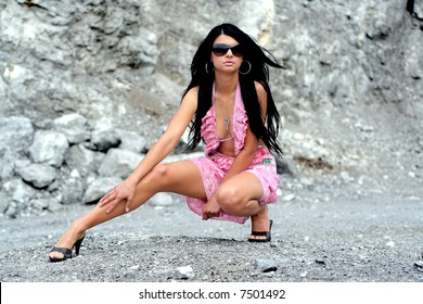 gorgeous black-hair female alone in wilderness