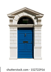 gorgeous blue irish building door with a carved stone surround (isolated on white background)