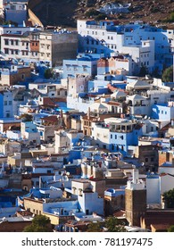 The gorgeous blue streets and blue-washed buildings of Chefchaouen, moroccan blue city- amazing palette of blue and white buildings