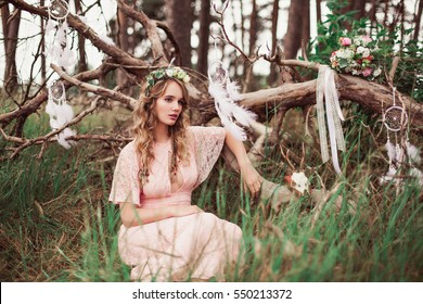 Gorgeous Boho Bride With Dream Catchers In Forest