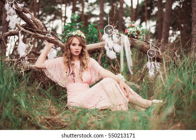 Gorgeous Bride With Dream Catchers In Forest