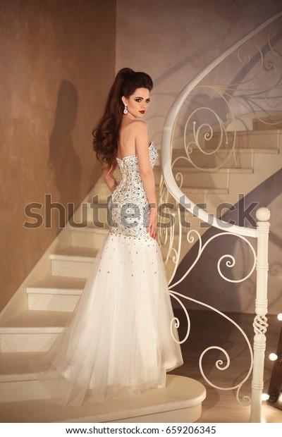 Gorgeous Bride Wedding Dress Elegant Brunette Stock Photo Edit
