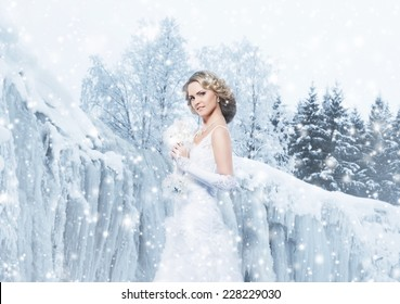 Gorgeous bride in wedding dress over the Christmas background