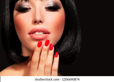 Gorgeous brunette woman with bright makeup