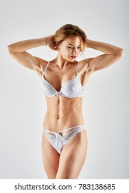 Gorgeous caucasian female lingerie model, studio shot