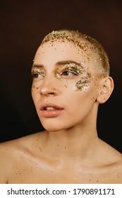 Gorgeous caucasian woman on beauty shot. Muah or make up idea