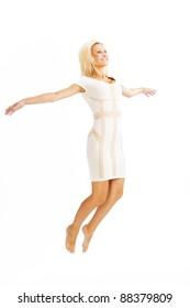 gorgeous caucasian woman over white background studio shot