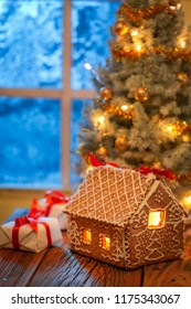 Gorgeous Christmas tree and gifts in old rustic house