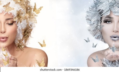 Gorgeous Christmas women with golden and silver fairytale effect headdress surrounded by butterflies, blowing magic dust from hand sending a kiss, partial face close up with central copy space
