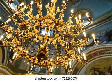 Gorgeous church interior: chandelier
