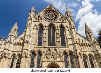 Gorgeous clear sunny day view of York Minster Cathedral in Yorkshire , England UK.