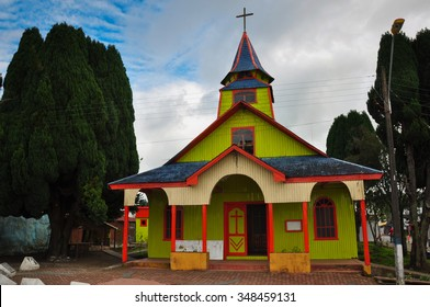 Gorgeous Colored and Wooden Churches, Chiloe Island, Chile.