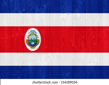 gorgeous Costa Rica flag painted on a wood plank texture