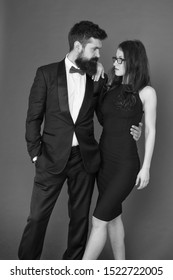 Gorgeous couple in love. Award ceremony concept. Bearded gentleman wear tuxedo girl elegant dress. Formal dress code. Visiting event or ceremony. Couple ready for award ceremony. Corporate party.
