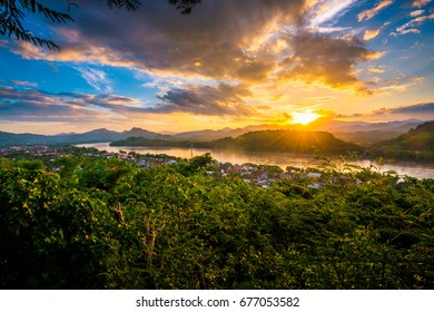 Gorgeous and Dramatic sunset blue hour at Mount Phousi in Luang Prabang