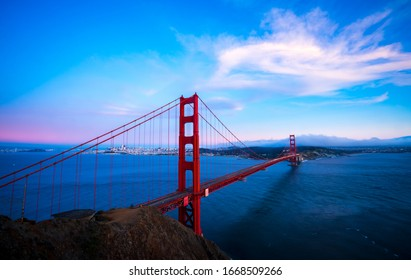 gorgeous evening at the landmark Golden gate bridge the national landmark of America and West Coast national treasure suspension bridge of San Francisco California