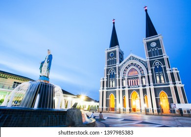 Gorgeous facade of Roman Catholic Diocese of Chanthaburi at twilight, Cathedral of the Immaculate Conception, Thailand. The church is open to the public.
