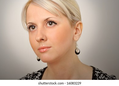 Gorgeous face of female on gradient background