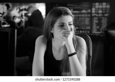 gorgeous female hacker at work