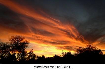 Gorgeous fiery orange & yellow Arizona sunset, Phoenix