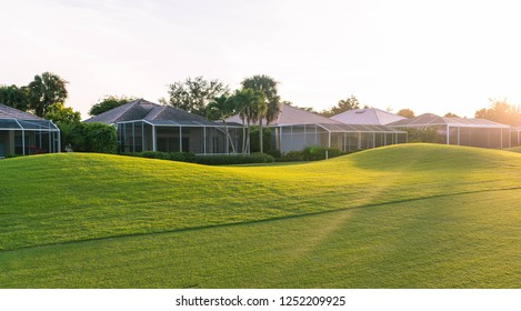 Gorgeous Florida golf community background concept with sun flare