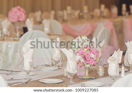 Gorgeous Gold Pink Decorations Wedding Reception Stock Photo Edit