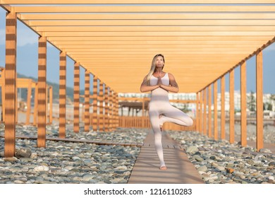Gorgeous graceful young blonde woman is engaged outdoors on a wooden platform in the middle of a rocky beach and makes vrikshasana on a sunny summer day