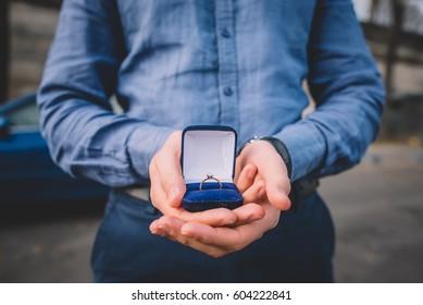 Gorgeous guy making proposal in Paris, France.