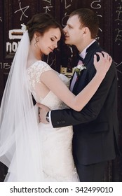 gorgeous happy luxury brunette bride with outstanding bouquet and elegant stylish groom on the background of doors