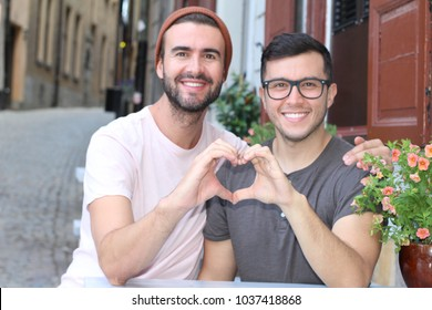 Gorgeous homosexual couple proud of what they are