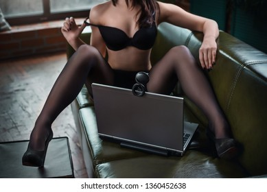 Gorgeous hot young woman posing webcam. Online streaptease. Flirting in web chat