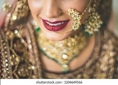 Gorgeous Indian Pakistani bride with nose ring Karachi, Pakistan, October 17, 2018