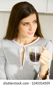 gorgeous lady drinking coffee happy