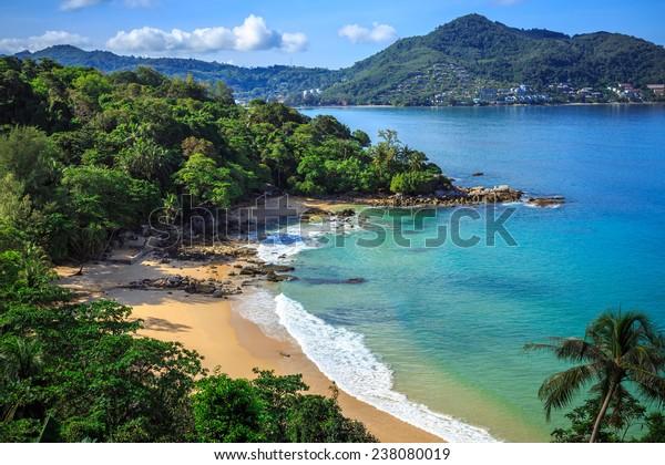 Gorgeous Laem Sing Beach at morning Taken from high point, Phuket, Thailand