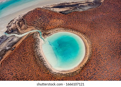 Gorgeous landscape colours  viewed from above in the Shark Bay Area of Western Australia