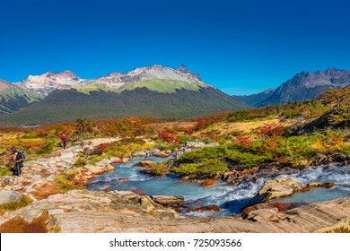 Gorgeous landscape of Patagonia's Tierra del Fuego National Park in Autumn, 2017