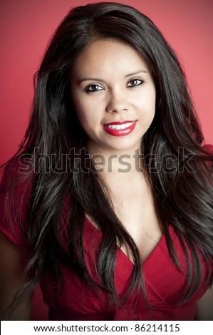 Gorgeous Latina Model With Long Black Hair Headshot