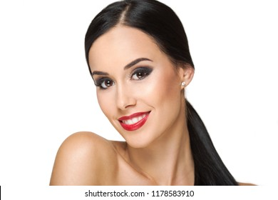 Gorgeous makeup brunette isolated on white background.
