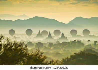 Gorgeous misty morning scenery of Old Bagan, Myanmar.