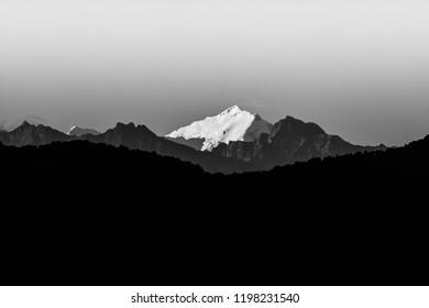 Gorgeous mountain range view from capital city Kathmandu, Nepal