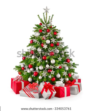 Gorgeous Natural Christmas Tree Red Silver Stock Photo Edit Now