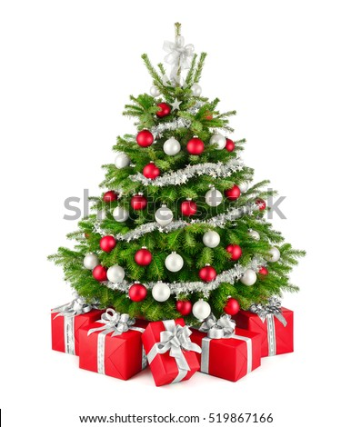 gorgeous natural christmas tree with red white and silver ornaments and matching gift boxes
