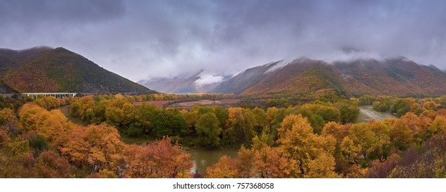 Gorgeous nature in the fall around the Vardar River in Macedonia.